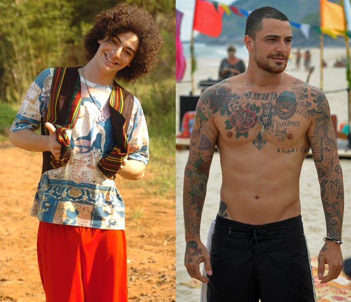 Felipe Titto como Marley; e hoje como Samurai (Foto: João Miguel Junior/Pedro Carrilho/Gshow)