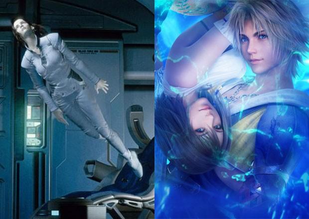 'Final Fantasy' o filme (à esq.) e Tidus e Yuna, personagens de 'Final Fantasy X' (à dir.) (Foto: Divulgação/Columbia Pictures/Square Enix)