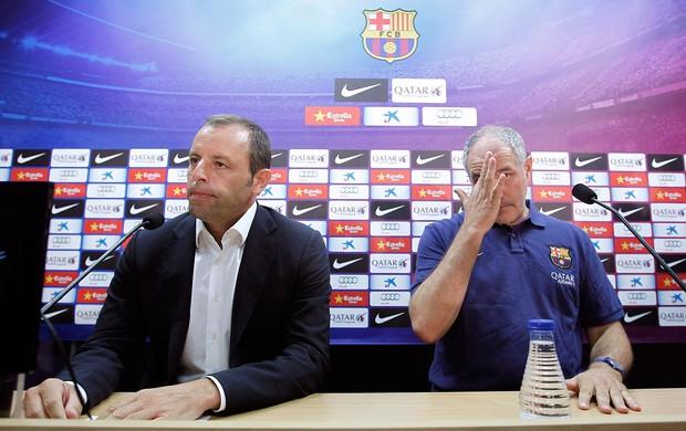 Sandro Rosell coletiva Barcelona saída de Tito Vilanova (Foto: Reuters)