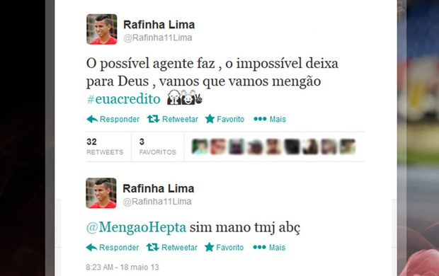 Rafinha twitter Flamengo (Foto: Reprodução / Twitter)