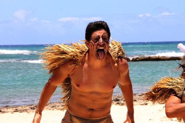 Daniel incorpora seu personagem ao gravar a matéria para o Caldeirão (Foto: Caldeirão do Huck / TV Globo)