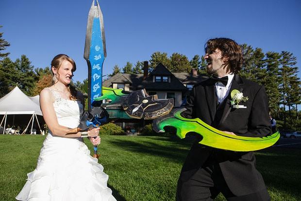 Os noivos Jen e Nick Crovo durante o casamento deles baseado no game on-line 'World of Warcraft'. (Foto: Divulgação/Arquivo Pessoal/Jen Crovo)