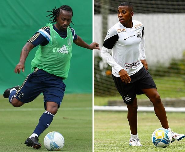 Arouca enfrenta o ex-companheiro de equipe Robinho (Foto: Reprodução globoesporte.com)