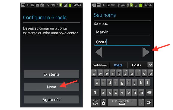Iniciando uma nova conta do YouTube no Android (Foto: Reprodução/Marvin Costa)
