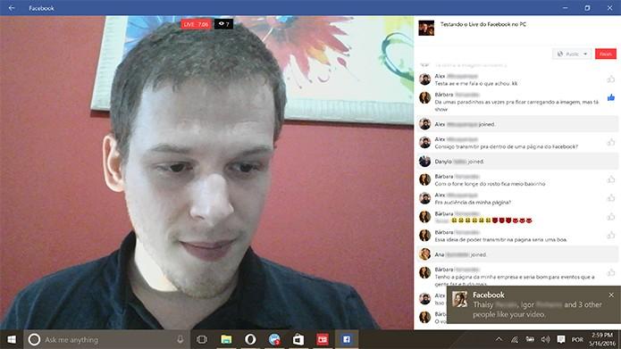 Facebook Live oferece interação com amigos e alertas sobre a audiência (Foto: Reprodução/Elson de Souza)