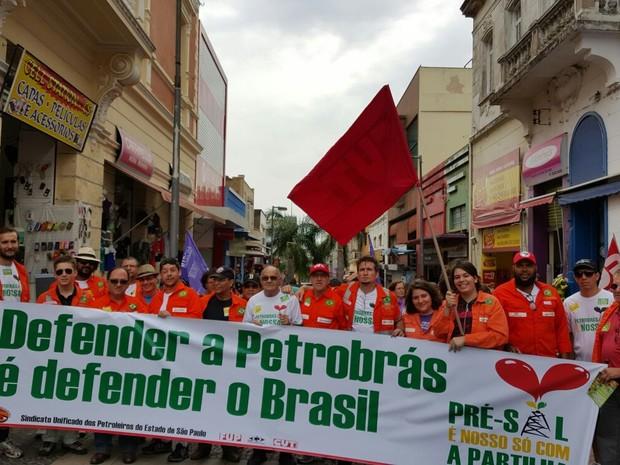 Petroleiros realizam ato em defesa da Petrobrás no Centro de Campinas (SP) (Foto: Sindipetro Unificado-SP)