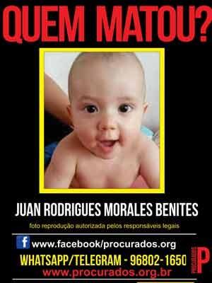 Cartaz pede ajuda para identificar os criminosos que mataram Juan, de 1 ano. (Foto: Divulgação/ Portal Procurados)