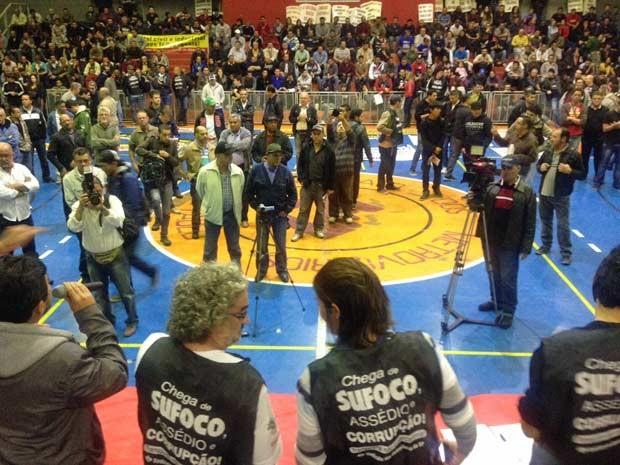 Assembleia no Sindicato dos Metroviários (Foto: Marcelo Mora/G1)