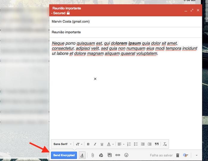 Tela de configuração de um e-mail criptografado no Gmail (Foto: Reprodução/Marvin Costa)