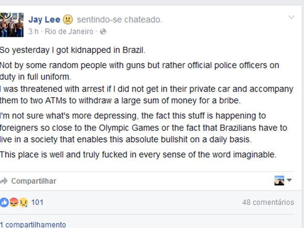 Atleta Jay Lee postou em redes sociais que foi assaltado (Foto: Reprodução/Facebook)
