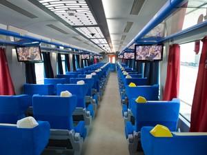 Vagões do Trem Vitória Minas contam com televisores e poltronas confortáveis (Foto: Divulgação/Vale)