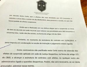 RN - documento STJD América-RN caso Sapé (Foto: Augusto Gomes/GloboEsporte.com)
