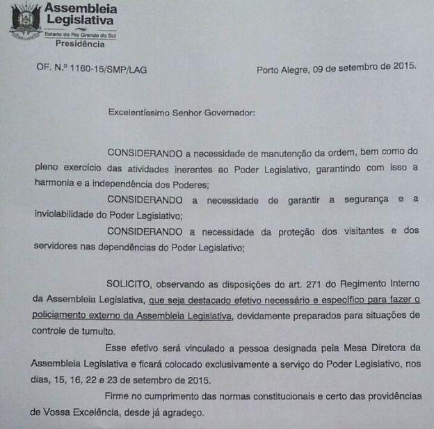 Documento da Assembleia Legislativa pede efetivo militar em dias determinados (Foto: Reprodução)