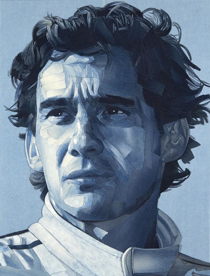 Detalhes da obra de arte de Ian Berry sobre Ayrton Senna (Foto: Divulgação)