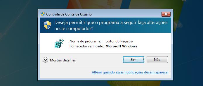 Autorizando a execução do editor do registro do Windows (Foto: Reprodução/Edivaldo Brito)