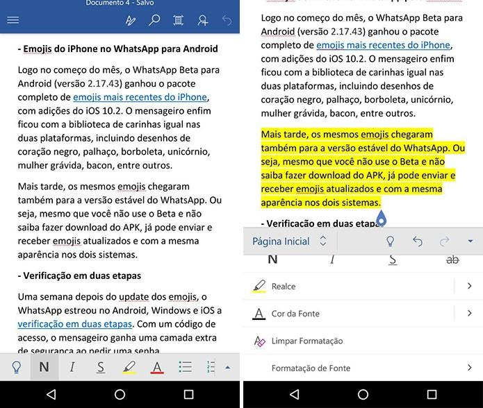 Word para Android (Foto: Reprodução/Paulo Alves)