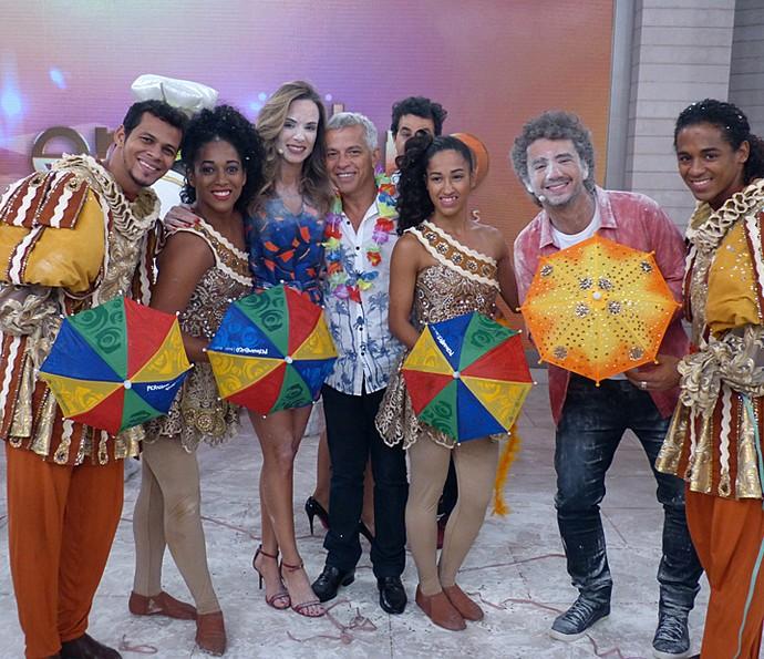 O clima de Carnaval tomou conta do 'Encontro' (Foto: Cristina Cople/Gshow)