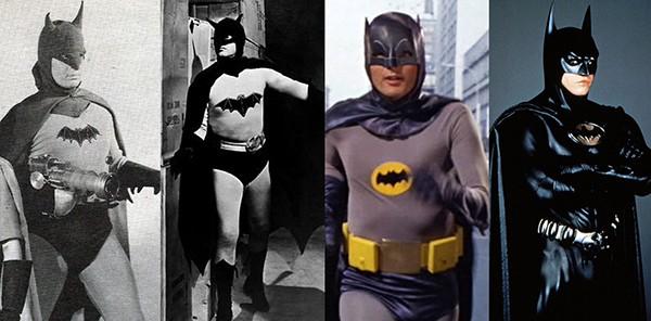 Lewis Wilson em O Morcego (1943), Robert Lowery em A Volta do Homem Morcego (1949), Adam West em Batman (1966-1968), Val Kilmer em Batman Eternamente(1995)  (Foto: Divulgação)
