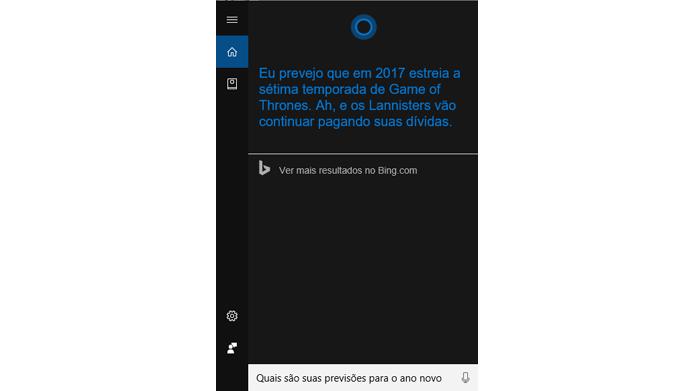 Assistente do Windows faz previsões para 2017 (Foto: Reprodução/Windows)