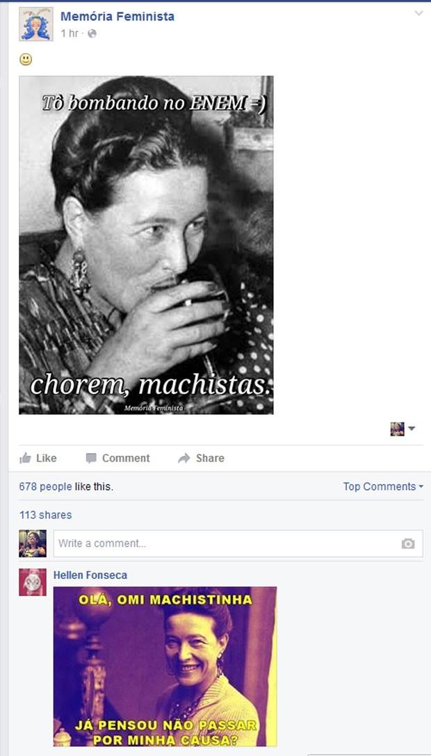 """Publicação da página """"Memória Feminista"""" no Facebook (Foto: Reprodução/Facebook)"""