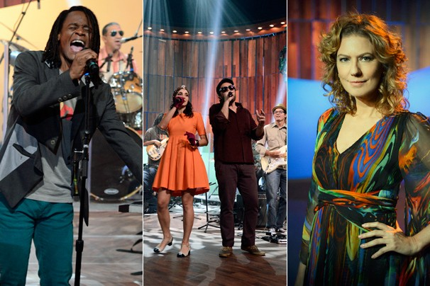 Toni Garrido, do Cidade Negra, a dupla maranhense Criolina e a apresentadora do Som Brasil, Patrícia Pillar (Foto: Raphael Dias/Globo)