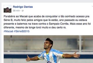 Rodrigo Dantas parabeniza Macaé pelo acesso (Foto: Reprodução)