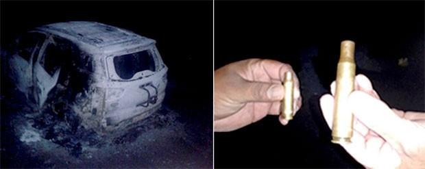 Veículo utilizado pelos criminosos foi abandonado e incendiado; agentes também mostram que os assaltantes usaram arma de grosso calibre na ação  (Foto: Divulgação/PRF)
