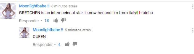 """""""Gretchen é um estrela internacional. Sou da Itália e conheço a rainha!"""", comenta italiana (Foto: Reprodução)"""