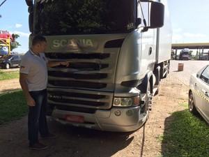 Caminhão que atingiu manifestantes em protesto no Rio Grande do Sul (Foto: Divulgação/Polícia Civil)