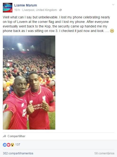 BLOG: Torcedor do Liverpool perde celular e recebe de volta com selfie de jogadores