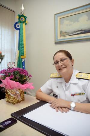 Contra-almirante Dalva Mendes é a primeira mulher da história a ocupar um cargo de oficial general das Forças Armadas (Foto: Adeiano Ishibashi / G1)
