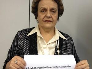 A ministra da Secretaria de Mulheres, Eleonora Menicucci, em apoio à campanha contra o estupro (Foto: Nei Bomfim/SPM)