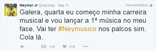 Tweet Neymar Jr (Foto: Reprodução/Twitter)