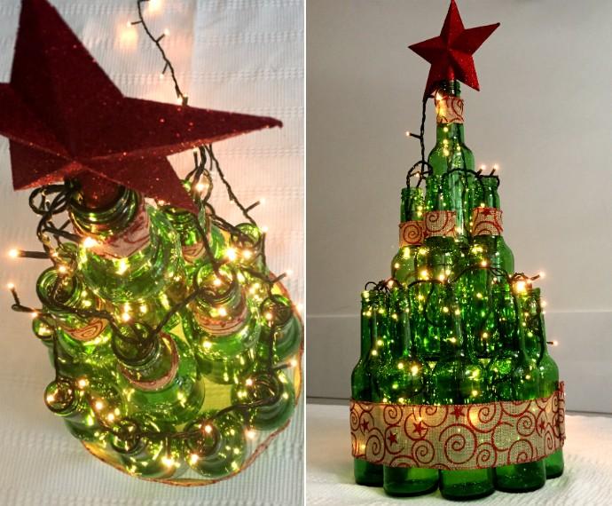 decoracao em arvore de natal : decoracao em arvore de natal:Árvore de Natal de garrafas (Foto: Renata Viot/Gshow)