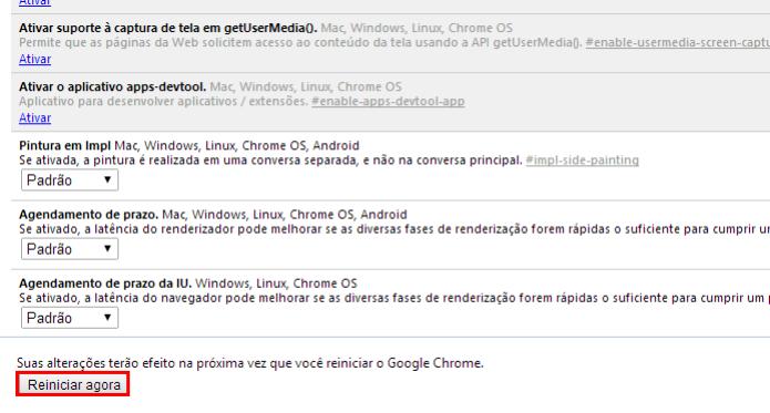 Reinicie o navegador para salvar as alterações (Foto: Reprodução/Paulo Alves) (Foto: Reinicie o navegador para salvar as alterações (Foto: Reprodução/Paulo Alves))