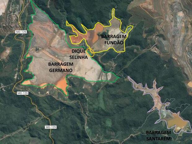 Mapa das barragens da Samarco, em Mariana, antes do desastre no dia 5 de novembro (Foto: Divulgação/ Samarco)