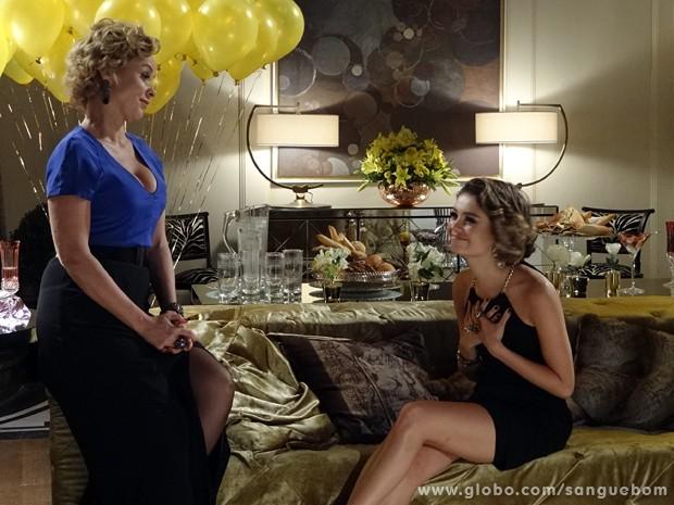Depois da festa, Amora detona a Casa Verde, mas confessa seu amor por Bento (Foto: Sangue Bom/TV Globo)