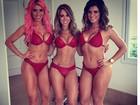 Thais Bianca, Narizinho e Babi posam de biquíni vermelho