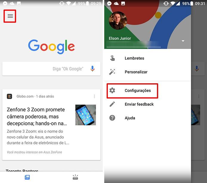 Abra as configurações do app do Google para ativar notificações de Doodles (Foto: Reprodução/Elson de Souza)