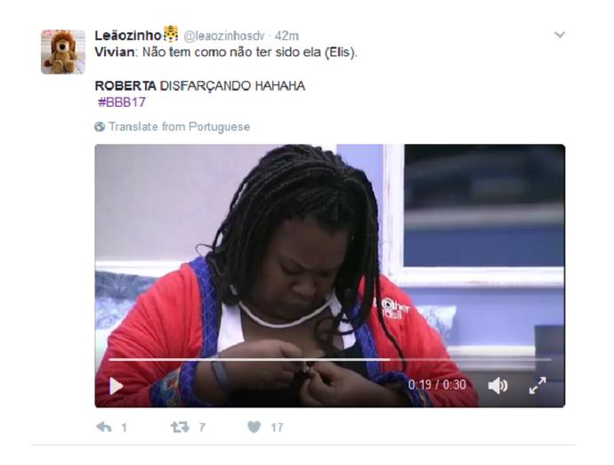 Tuite Roberta disfarçando (Foto: Twitter)