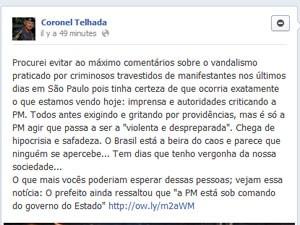 Telhada compara manifestantes a criminosos (Foto: Reprodução/ G1)