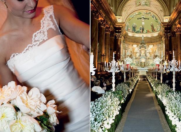 Flores de uma cor só, como rosas e as ásteres, podem deixar a igreja linda e combinam com o buquê da noiva (Foto: Edu Castello/Editora Globo)