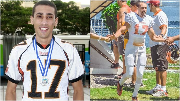 Danilo de Sá, wide receiver do Vila Velha Tritões em 2010 e em 2016 (Foto: Montagem em fotos de Arquivo/A Gazeta e Raul Marques/Vila Velha Tritões)