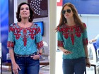 Par de jarros: Fátima Bernardes repete blusa de Marina Ruy Barbosa