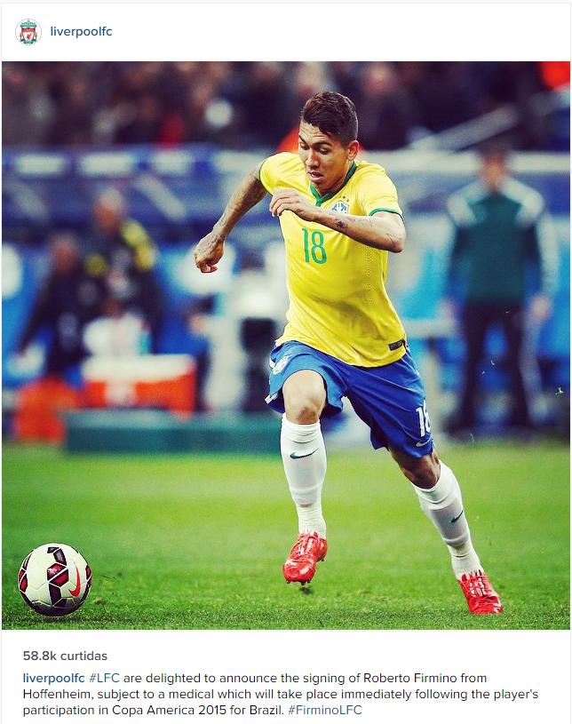 Liverpool anuncia Roberto Firmino via Instagram (Foto: Reprodução / Instagram)