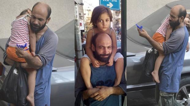 Abdul Halim al-Attar e sua filha, quando vendiam canetas nos semáforos de Beirute (Foto: Reprodução)