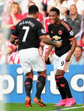 Martial e Memphis Depay, Southampton x Manchester United (Foto: Getty Images)
