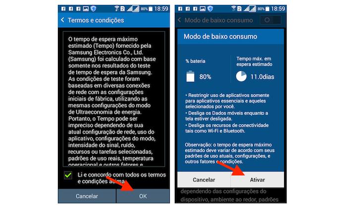 Ativando o modo de economia de bateria do Galaxy Gran Prime Duos (Foto: Reprodução/Marvin Costa)
