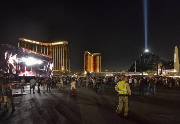 Vista geral do festival de música Route 91. Harvest, em las Vegas, onde atiradores mataram e feriram várias pessoas ao atirar na multidão do alto de um hotel (Foto: Bill Hughes/Las Vegas News Bureau/EFE)