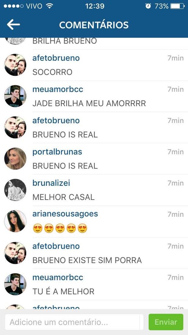 Fãs torcem por Bruna Santana e Breno Cesar (Foto: Reprodução / Instagram)